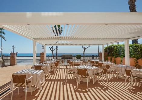 Terrace sea view restaurant Hotel Casa Vilella Sitges